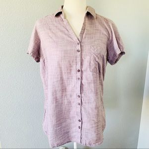 Columbia Lavender Button Up Collared Shirt Sz Lg